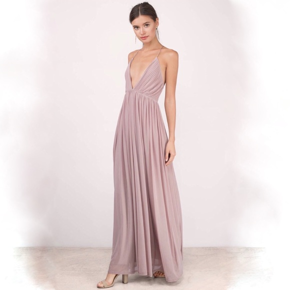 Tobi Dresses Jamee Plunging Maxi Dress Mauve Color Poshmark